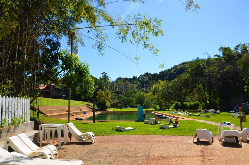 Un posto per la hacienda locale di rilassamento, accanto alla città Ribeirao Preto, regione Minas Gerais immagini stock