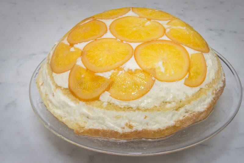 Un postre de lujo Rosace de la cena al L naranja foto de archivo
