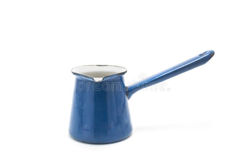 Un pot de café turc d'isolement sur le fond blanc, pots en métal pour photographie stock