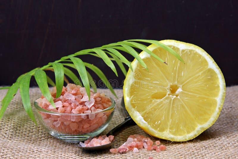Un pot de sel de l'Himalaya photos stock