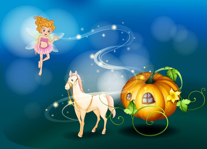 Un potiron, un cheval et une fée illustration de vecteur