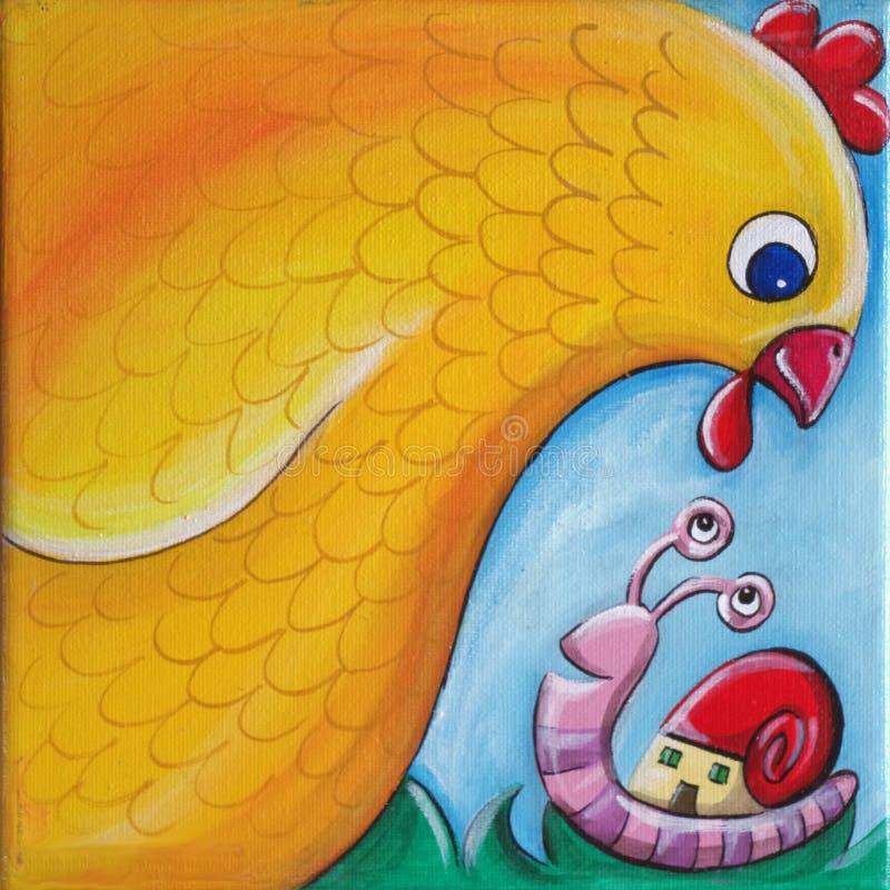 Un poulet rencontre un escargot photos stock