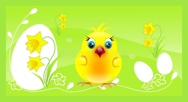 Un poulet sur le fond de Pâques illustration stock