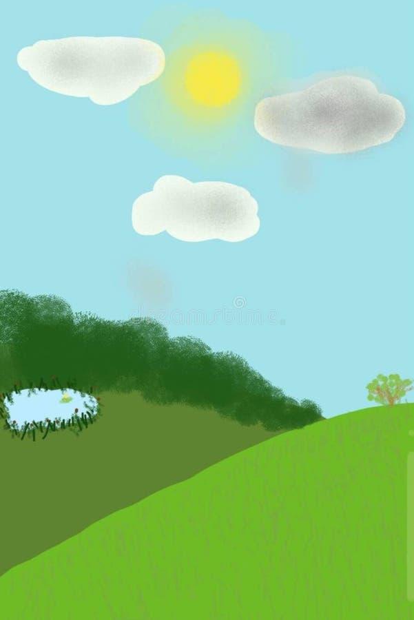 Un pré vert d'été, un lac avec des roseaux et forêt dans la distance Jour ensoleill? d'?t? illustration de vecteur
