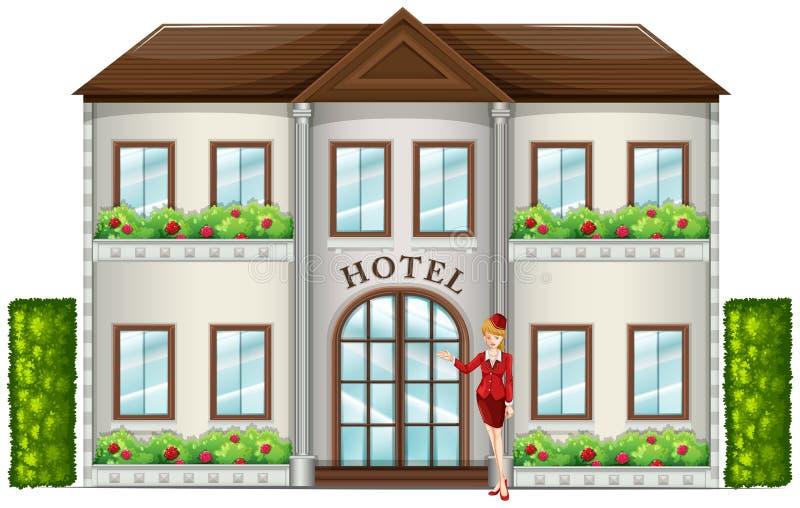 Un préposé d'hôtel se tenant devant l'hôtel illustration libre de droits
