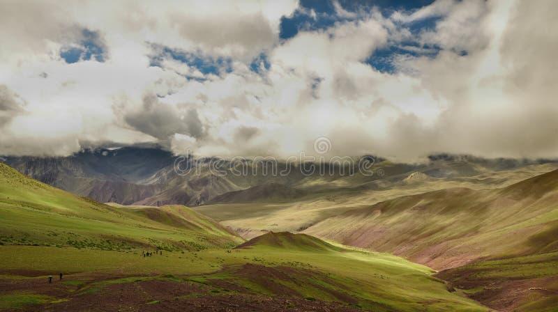Un prado Himalayan precioso con las nubes imágenes de archivo libres de regalías