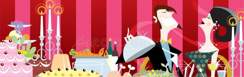 Un pranzo di celebrazione royalty illustrazione gratis