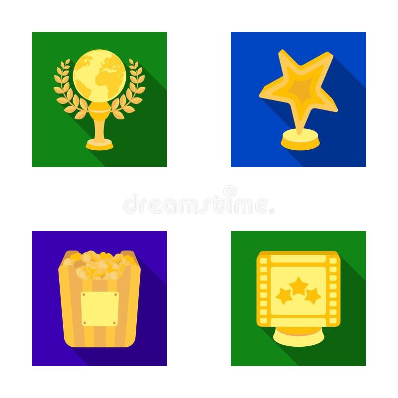 Un premio del oro bajo la forma de estrella, globo del oro y otros premios Los premios de la película fijaron iconos de la colecc stock de ilustración