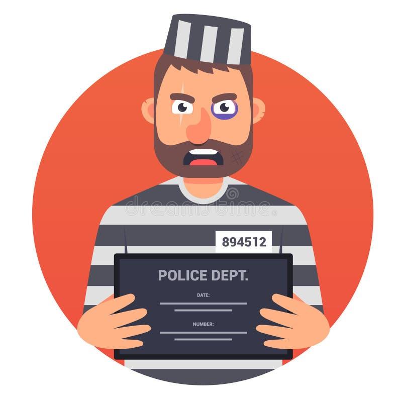 Un prigioniero con un segno dentro che le sue mani non guarda bene nella macchina fotografica Uniforme a strisce Illustrazione di illustrazione di stock