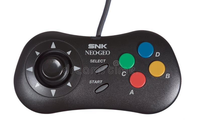 Un primo piano del regolatore neo del video gioco di SNK Geo immagini stock libere da diritti