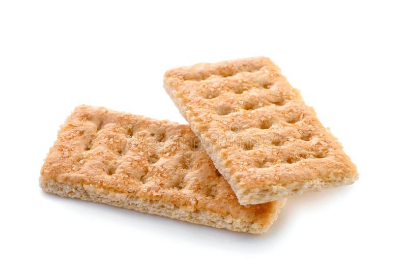 Un primo piano dolce di due biscotti di Galette isolato su fondo bianco fotografie stock libere da diritti