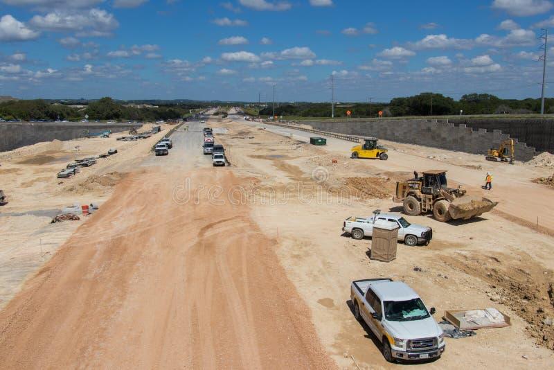Un processo di costruzione della strada principale nuova in Austin Texas del sud fotografia stock