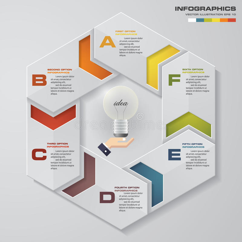 un processo di 6 punti Elemento di progettazione dell'estratto di Simple&Editable Vettore illustrazione di stock