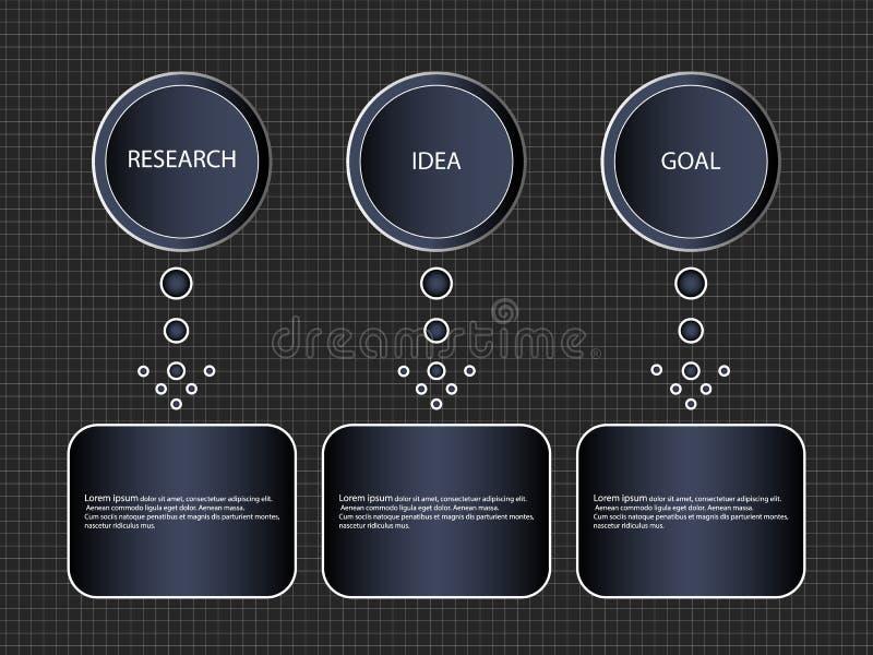 Un processo graduale di Infographic di 3 oggetti o opzioni, modello Schema a blocchi dell'insegna di affari di vettore o lo schem illustrazione vettoriale