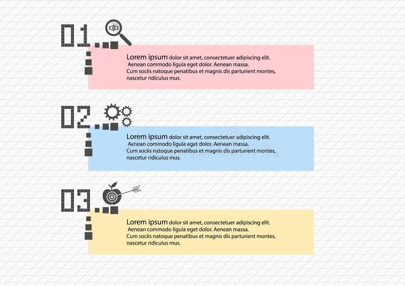 Un processo graduale di Infographics di 3 oggetti o opzioni con le icone, modello Schema a blocchi dell'insegna di affari di vett illustrazione vettoriale