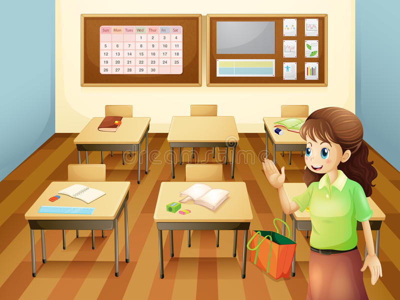 Un professeur à l'intérieur de la salle de classe illustration de vecteur