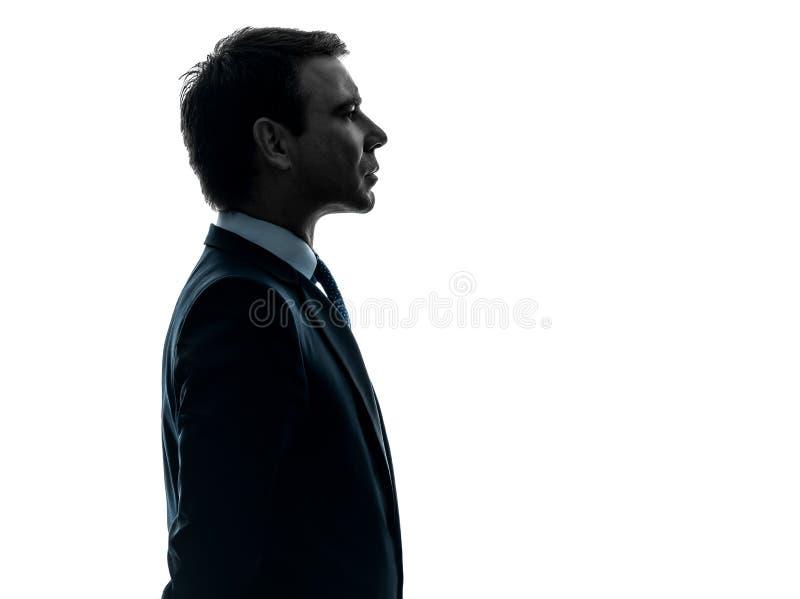 Silhouette sérieuse de profil de portrait d'homme d'affaires photo stock