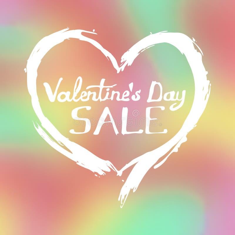 Un profilo disegnato a mano del cuore, con un'iscrizione nel centro, il giorno del ` s del biglietto di S. Valentino illustrazione vettoriale