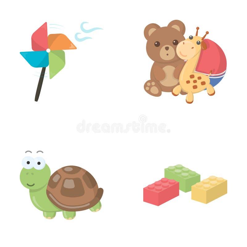 Un propulsor del juguete, un oso de peluche con una jirafa y una bola colorida, una tortuga del juguete, un lego, diseñador para  stock de ilustración