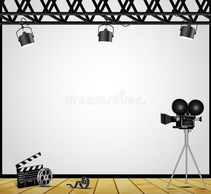 Un proyector del teatro del vintage en un fondo blanco en la etapa libre illustration