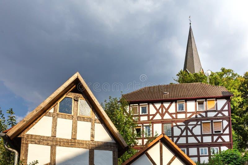 Un pueblo histórico más mojado Hesse Alemania imagen de archivo libre de regalías