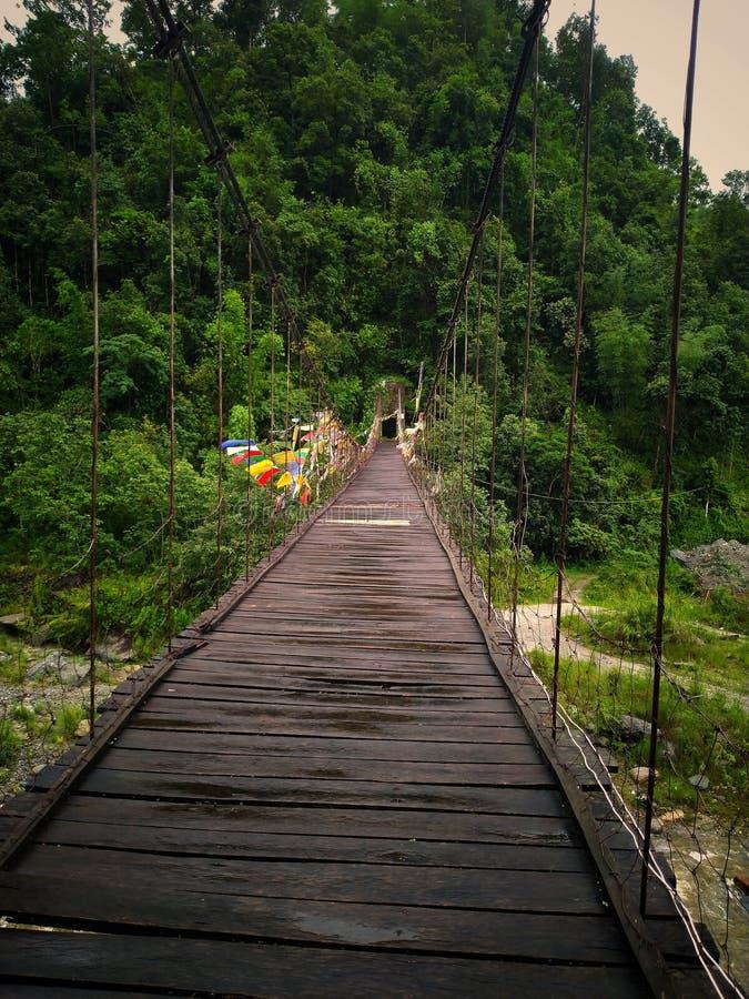 Un puente de colgante largo sobre el río foto de archivo