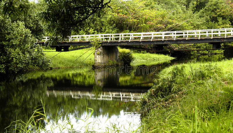 Un puente del carril en Kauai imagen de archivo
