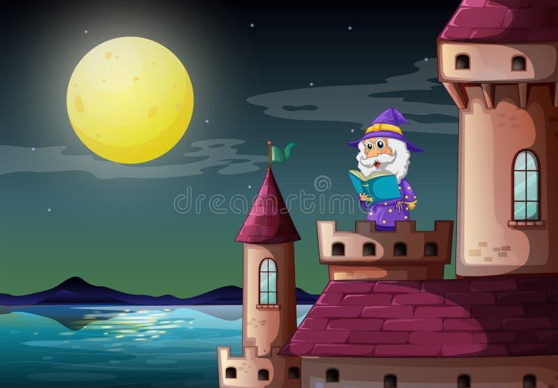 Un puerto del castillo con un mago que lee un libro ilustración del vector