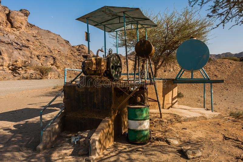 Un puits en Wadi Massal, province de Riyadh, Arabie Saoudite image stock