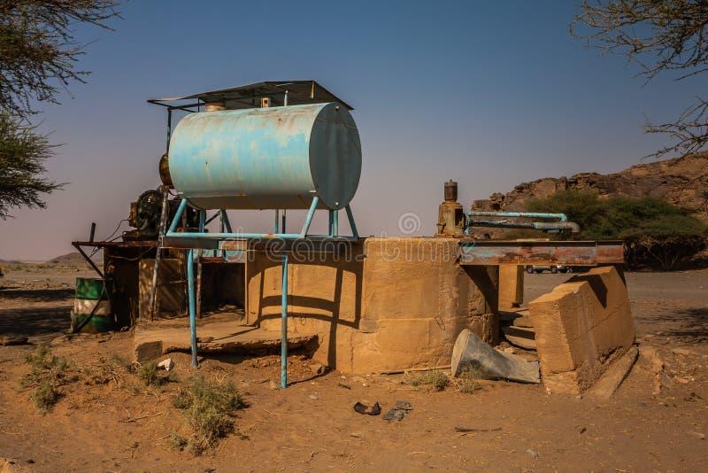 Un puits en Wadi Massal, province de Riyadh, Arabie Saoudite images libres de droits