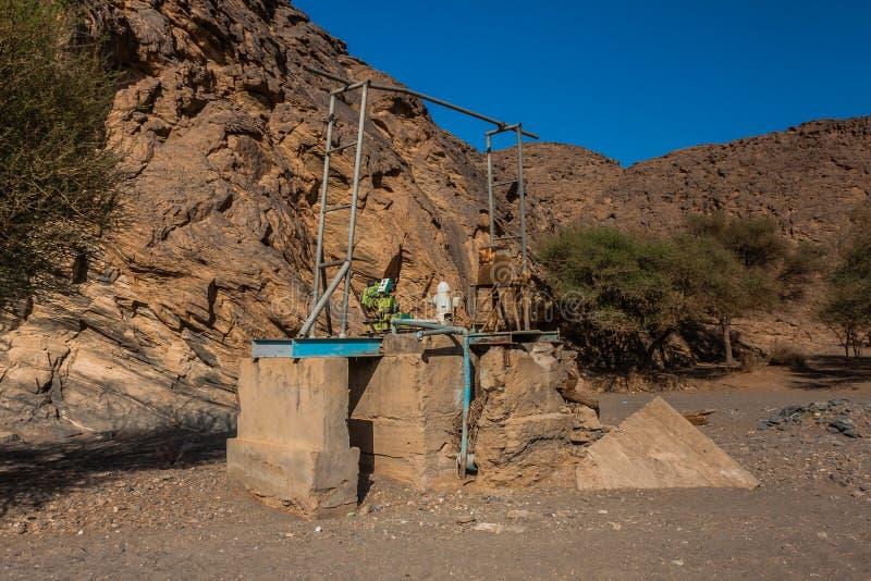 Un puits en Wadi Massal, province de Riyadh, Arabie Saoudite photographie stock