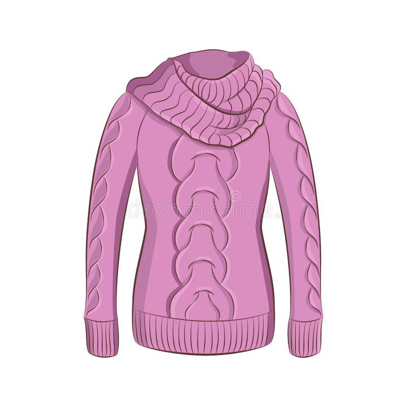 Un pullover chaud réaliste ou un chandail tricoté Vêtements d'hiver de mode de femmes illustration stock