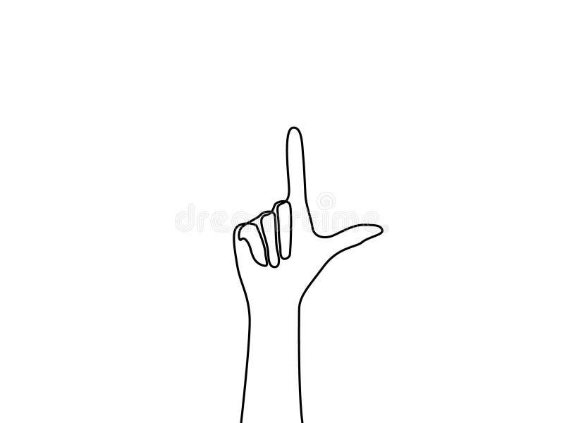 Un punto continuo de la mano del dibujo lineal a subir stock de ilustración