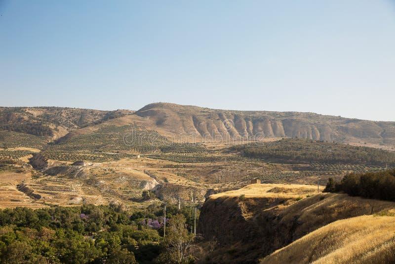Un punto di vista del lato siriano di Golan Heights immagine stock