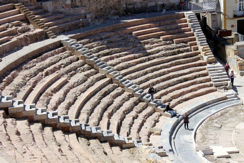 Un punto di vista panoramico di Roman Theater di Cartagine in Spagna fotografie stock libere da diritti