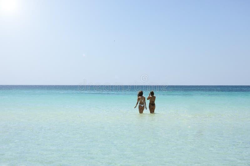 Un punto di vista posteriore di due belle donne amichevoli che bagnano in chiaro mare contro un cielo soleggiato Concetto di vaca immagine stock