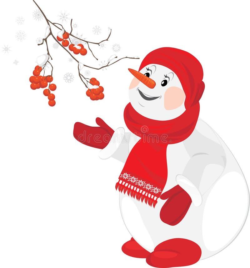 Un pupazzo di neve felice con la filiale della sorba royalty illustrazione gratis