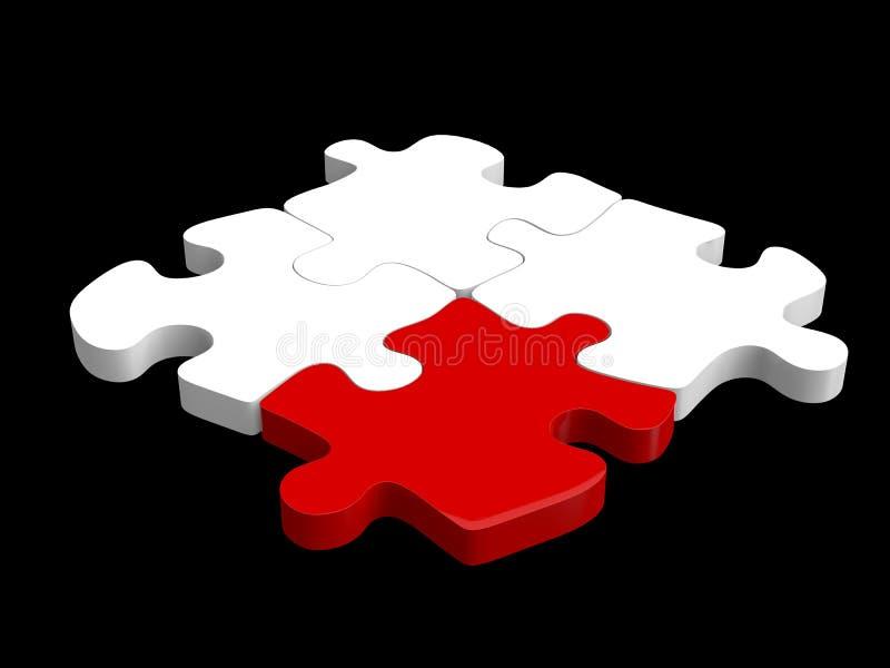 Un puzzle di quattro pezzi fissato con un pezzo rosso royalty illustrazione gratis