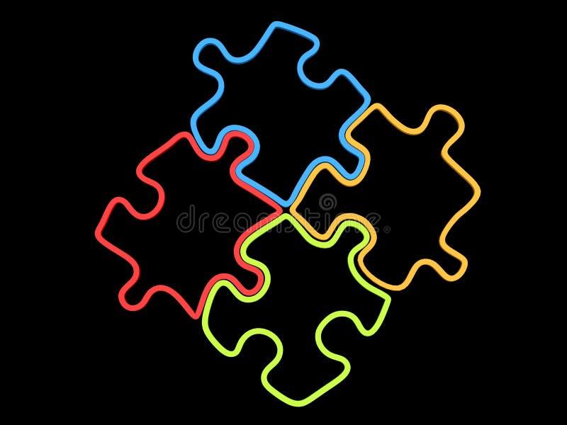 Un puzzle di quattro pezzi in rosso, in blu, in verde ed in giallo - profili royalty illustrazione gratis