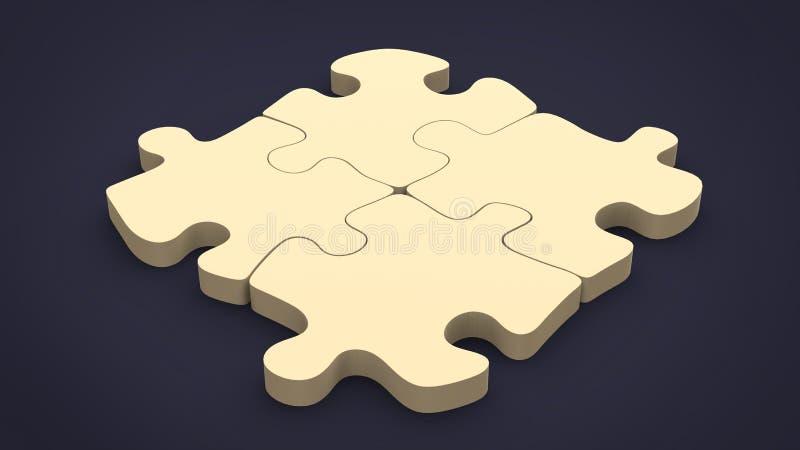 Un puzzle di quattro pezzi - su fondo scuro illustrazione di stock