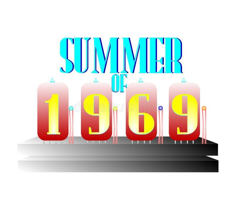 Un qué verano del concepto 1969 ilustración del vector