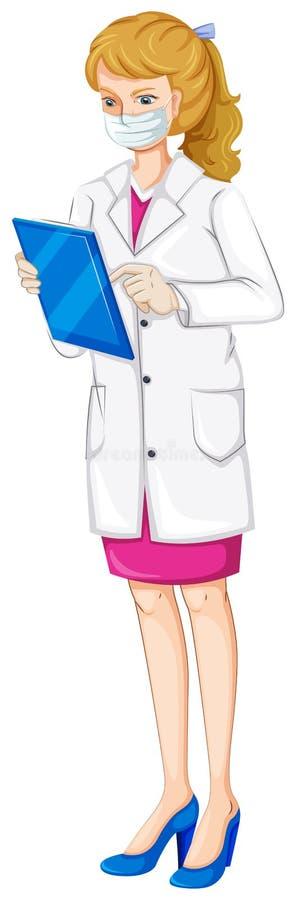 Un químico de sexo femenino ilustración del vector