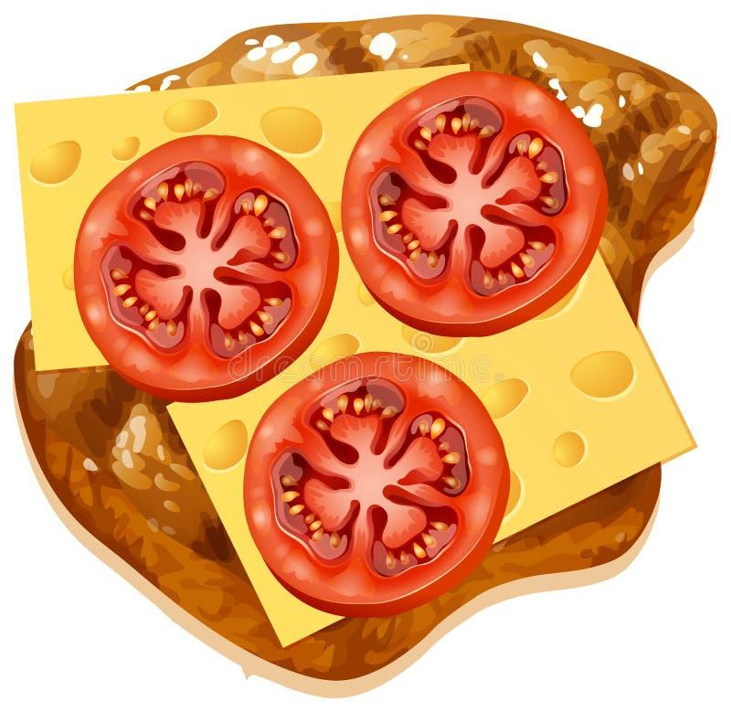 Un queso y un tomate en tostada stock de ilustración