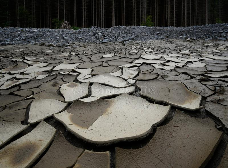 Un río ascendente secado debido a la falta de precipitación y de tala de árboles fotografía de archivo libre de regalías