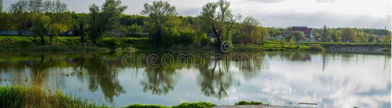 Un río cubierto con los árboles y las cañas fotos de archivo libres de regalías