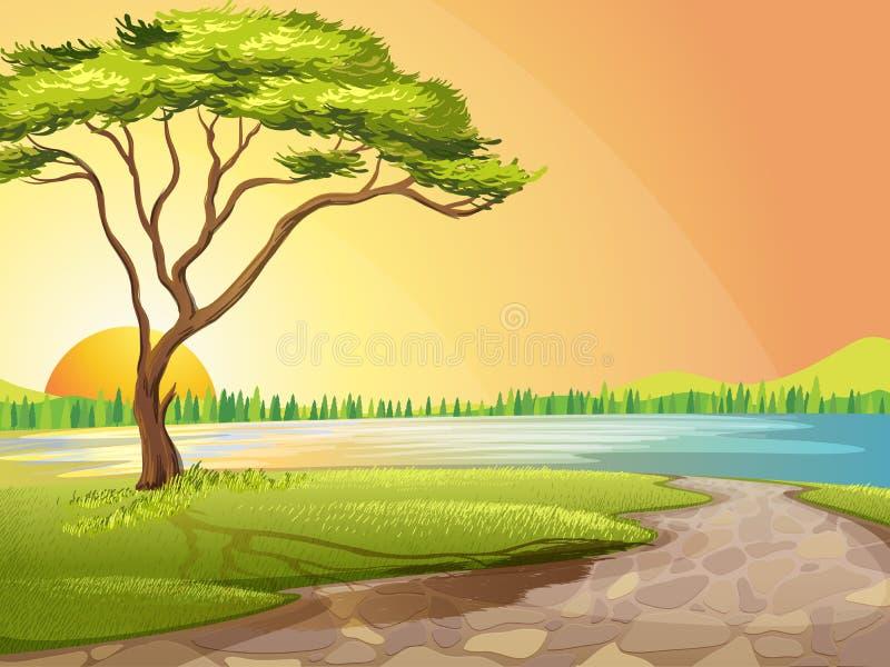 Un río y un árbol ilustración del vector