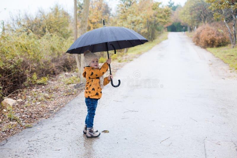 Un ragazzino cammina in autunno dell'ombrello della pioggia fotografia stock libera da diritti