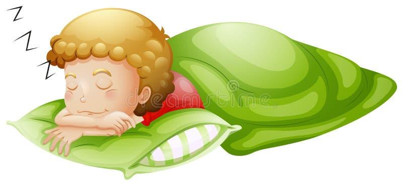 Un ragazzino che dorme bene illustrazione di stock