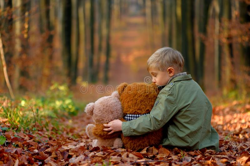 Un ragazzino che gioca nel parco di autunno fotografia stock libera da diritti