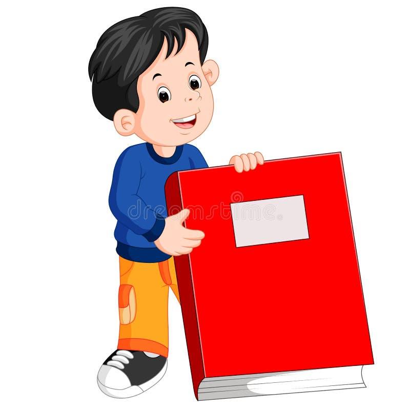 Un ragazzino che tiene un grande libro rosso illustrazione di stock